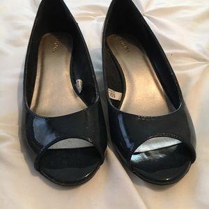 Merona navy blue peep toe shoes size 7 1/2